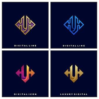 Modèle de logo illustration abstraite boîte colorée