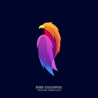 Modèle de logo illustration colorée aigle abstrait