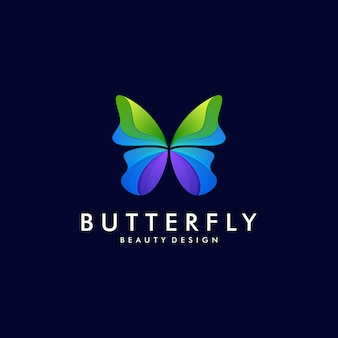 Modèle de logo d'illustration de dégradé de papillon coloré. concept de vecteur de dessin abstrait animal