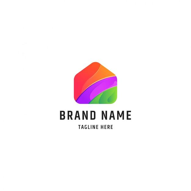 Modèle de logo d'illustration de maison colorée
