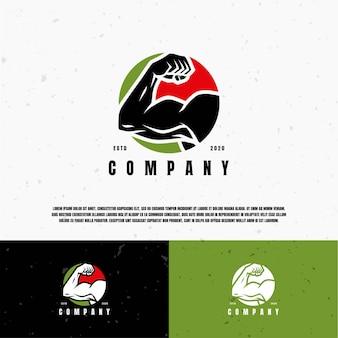 Modèle de logo illustration muscle silhouette