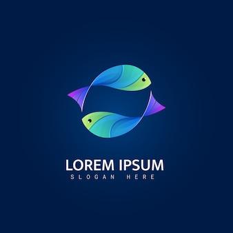 Modèle de logo illustration poisson coloré
