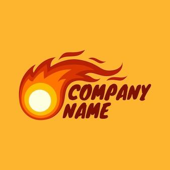 Modèle de logo d'illustration de vecteur de boule de feu pour l'entreprise en fond orange