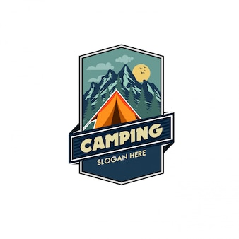 Modèle logo illustration vectorielle camping