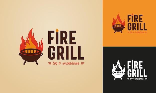 Modèle de logo illustré feu et gril