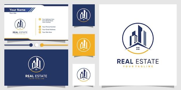 Modèle de logo immobilier avec concept moderne et conception de carte de visite vecteur premium