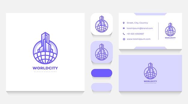 Modèle de logo immobilier mondial et carte de visite