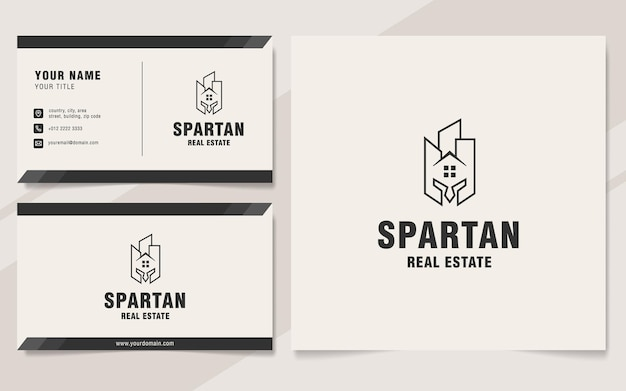 Modèle de logo immobilier spartiate sur le style monogramme