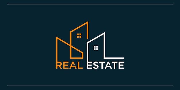 Modèle de logo immobilier avec un style d'art en ligne créatif et moderne vecteur premium