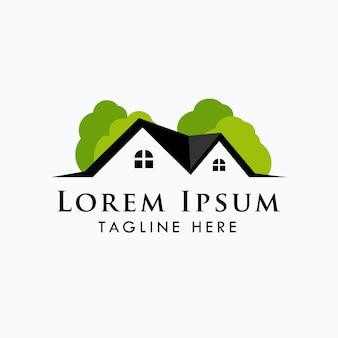 Modèle de logo immobilier vert