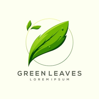 Modèle de logo impressionnant feuille verte