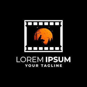 Modèle de logo de l'industrie du film de fox moon