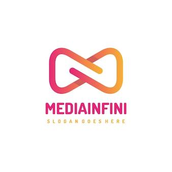 Modèle de logo infini de médias abstraits