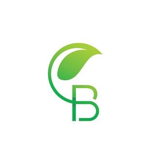 Modèle de logo initial de feuille b