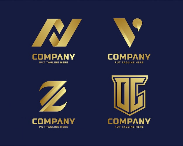 Modèle de logo initial de lettre d'affaires or luxe luxe et élégante