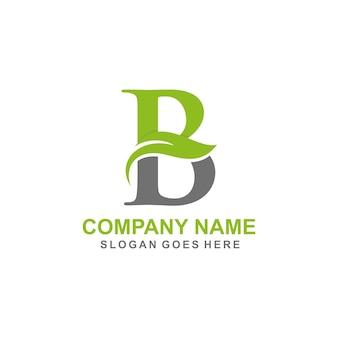 Modèle de logo initial de lettre b feuille