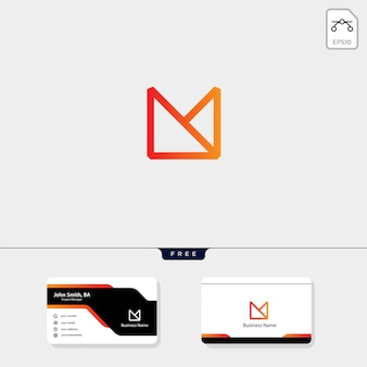 Modèle de logo initial minimal m