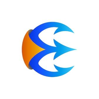 Modèle de logo initial de trident lettre e