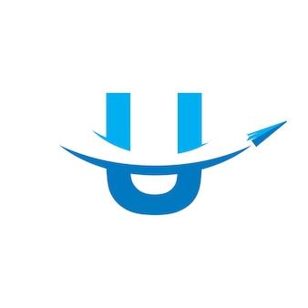 Modèle de logo initial de voyage u
