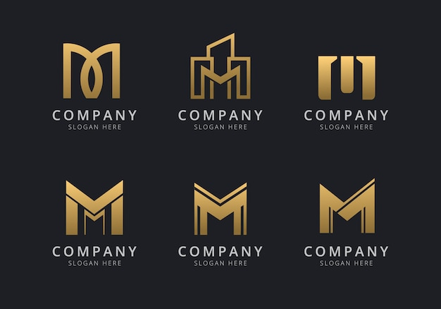 Modèle de logo initiales m avec une couleur de style doré pour l'entreprise