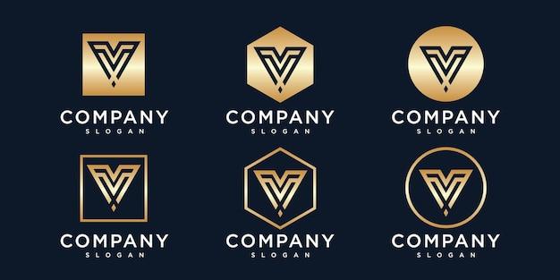 Modèle de logo initiales v avec une couleur de style doré