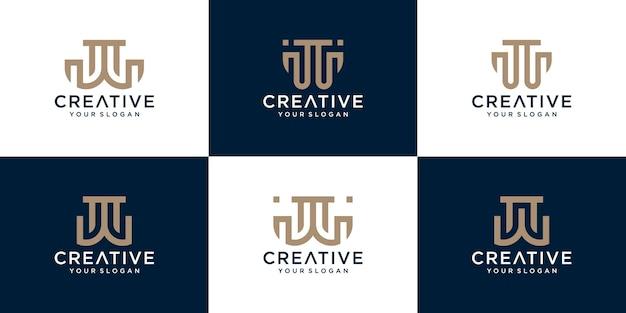 Modèle de logo initiales w avec une couleur de style doré pour l'entreprise