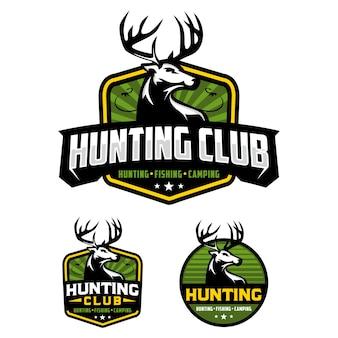 Modèle de logo d'insigne de club de chasse