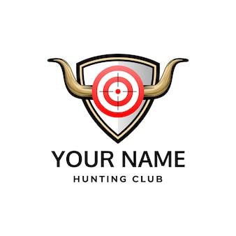 Modèle de logo insigne de corne de chasse corne de chasse