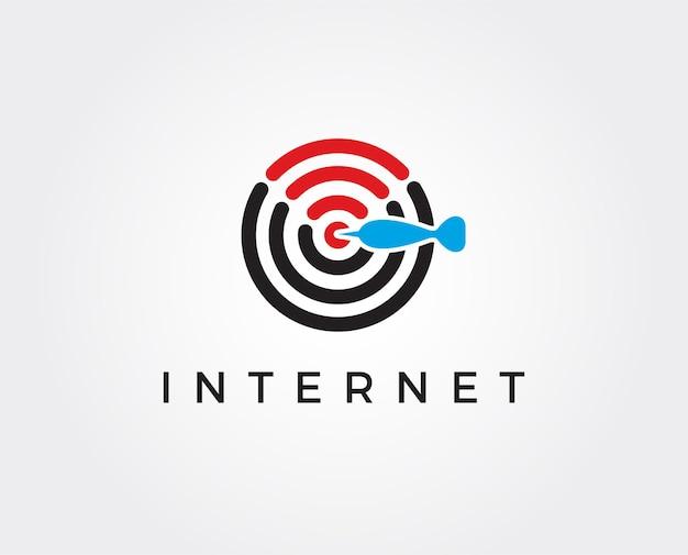 Modèle de logo internet minimal