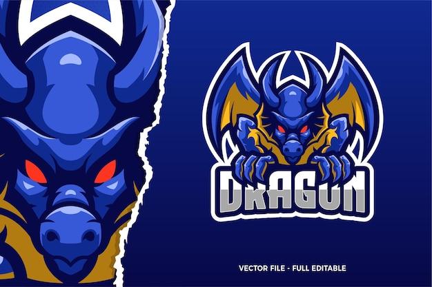 Modèle de logo de jeu blue dragon e-sport