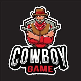 Modèle de logo de jeu cowboy