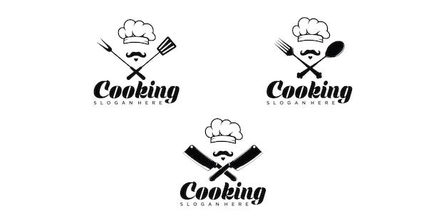 Modèle de logo de jeu de cuisine chef