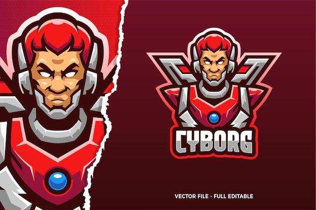 Modèle de logo de jeu cyborg homme e-sport