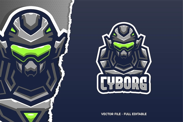 Modèle de logo de jeu cyborg soldat e-sport