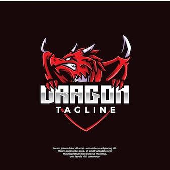 Modèle de logo de jeu de dragon