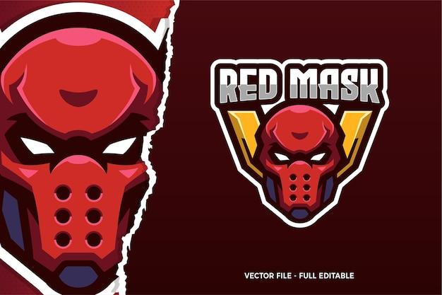 Modèle de logo de jeu e-sport assassin masque rouge