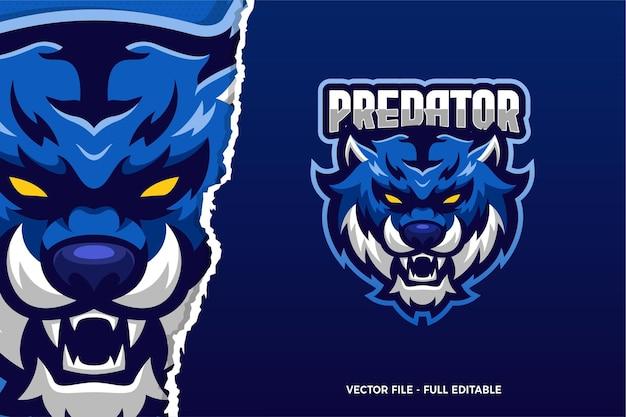 Modèle de logo de jeu e-sport blue tiger