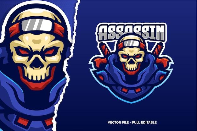 Modèle de logo de jeu e-sport ninja assassin skull