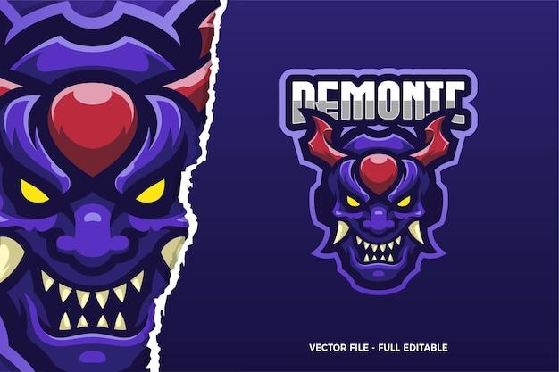 Modèle de logo de jeu e-sport purple demon