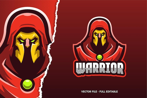 Modèle de logo de jeu e-sport red cloak warrior