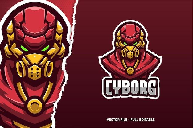 Modèle de logo de jeu e-sport robot rouge