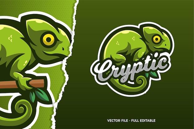 Modèle de logo de jeu e-sports caméléon vert