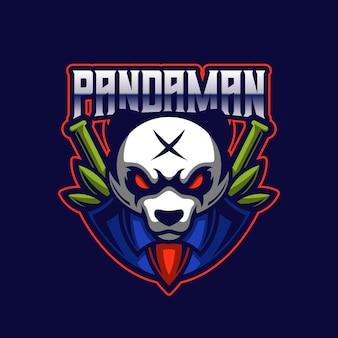 Modèle de logo de jeu d'équipe de mascotte de sport électronique panda