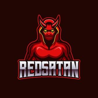 Modèle de logo de jeu d'équipe red satan e-sports mascotte