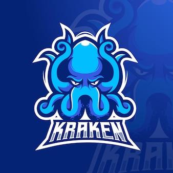 Modèle de logo de jeu esport détaillé kraken