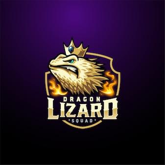 Modèle de logo de jeu esport dragon lizard
