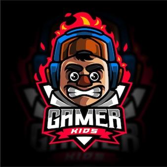 Modèle de logo de jeu gamer kids e sport