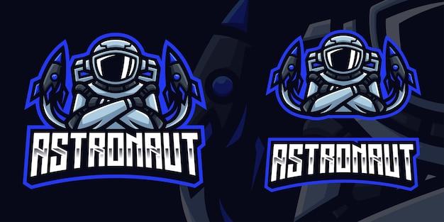 Modèle de logo de jeu de mascotte d'astronaute pour le streamer d'esports facebook youtube