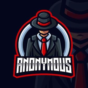Modèle de logo de jeu de mascotte black hat anonyme pour streamer esports facebook youtube