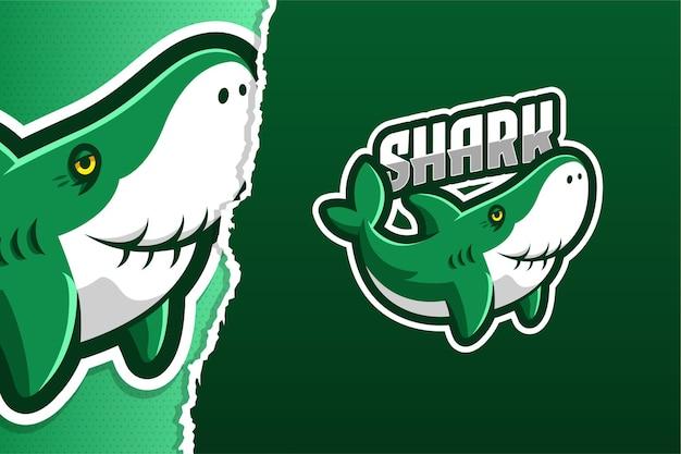 Modèle de logo de jeu de mascotte de dessin animé de requin de grand-père